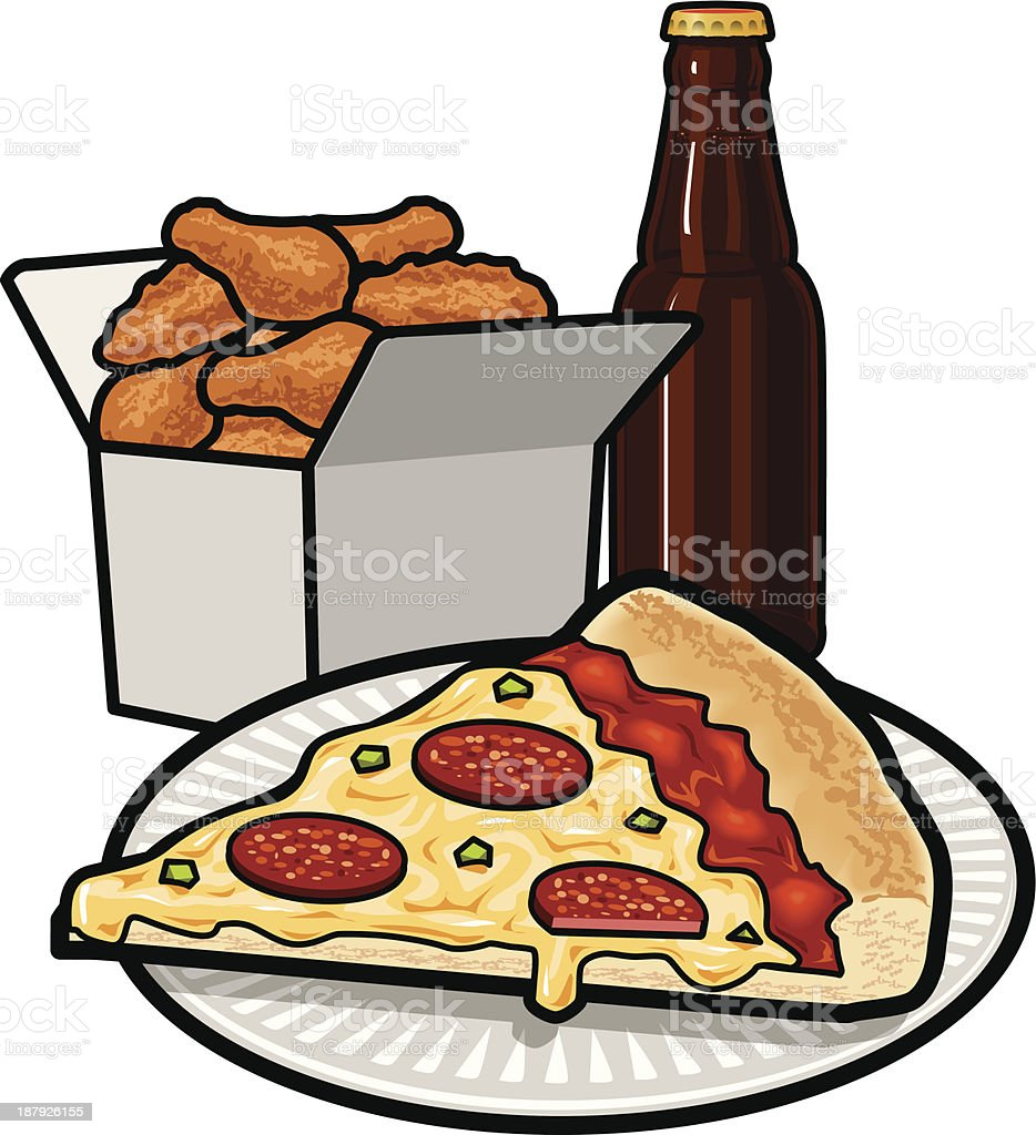 Pizza_Wings_Beer vector art illustration