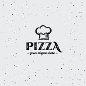 Pizza sign with cap chef. Design template.