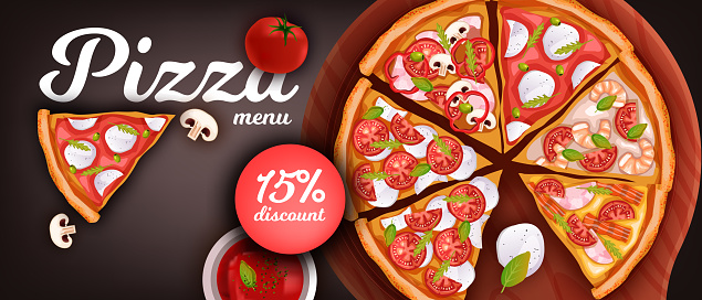 Pizzeria discount banner with pepperoni and margherita slices.