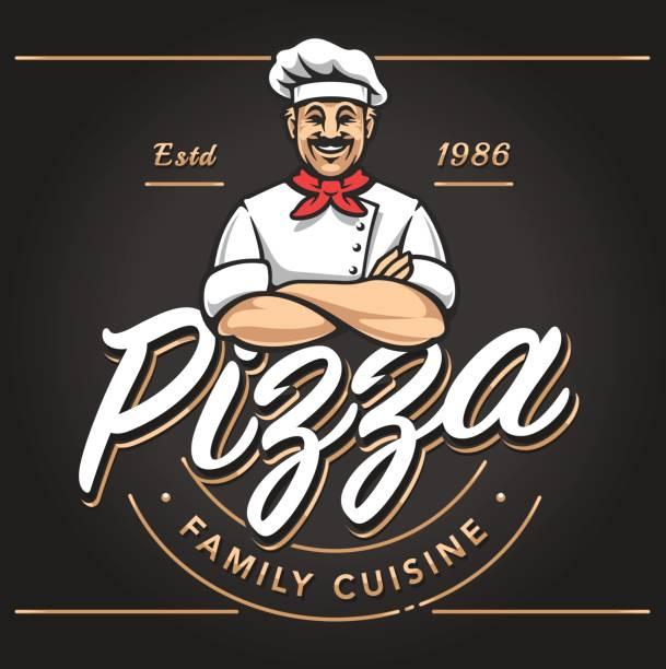 pizzeria emblem design - chef stock illustrations