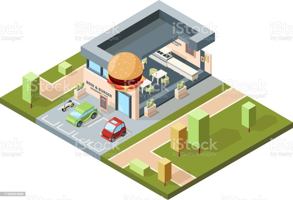 Pizzeria Exterior Modern Urban Fast Food Restaurant City Isometric Map With Buildings Facades Infrastructure Vector Stock Illustration Download Image Now Istock