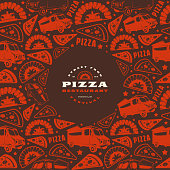 Pizzeria label and frame with pattern. Print on dark brown background