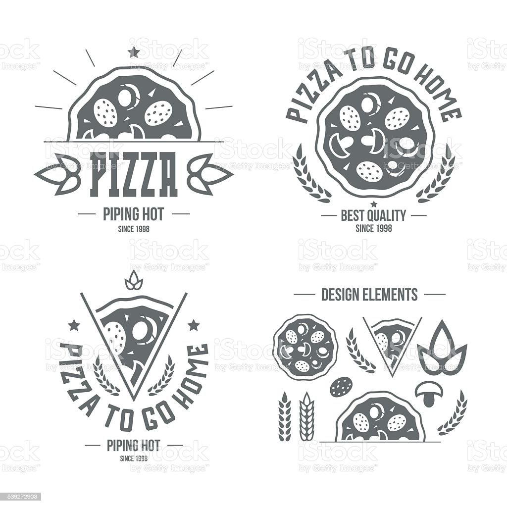 Pizzeria labels, badges and design elements vector art illustration