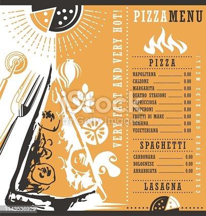 istock Pizzeria menu graphic design idea 1143536929