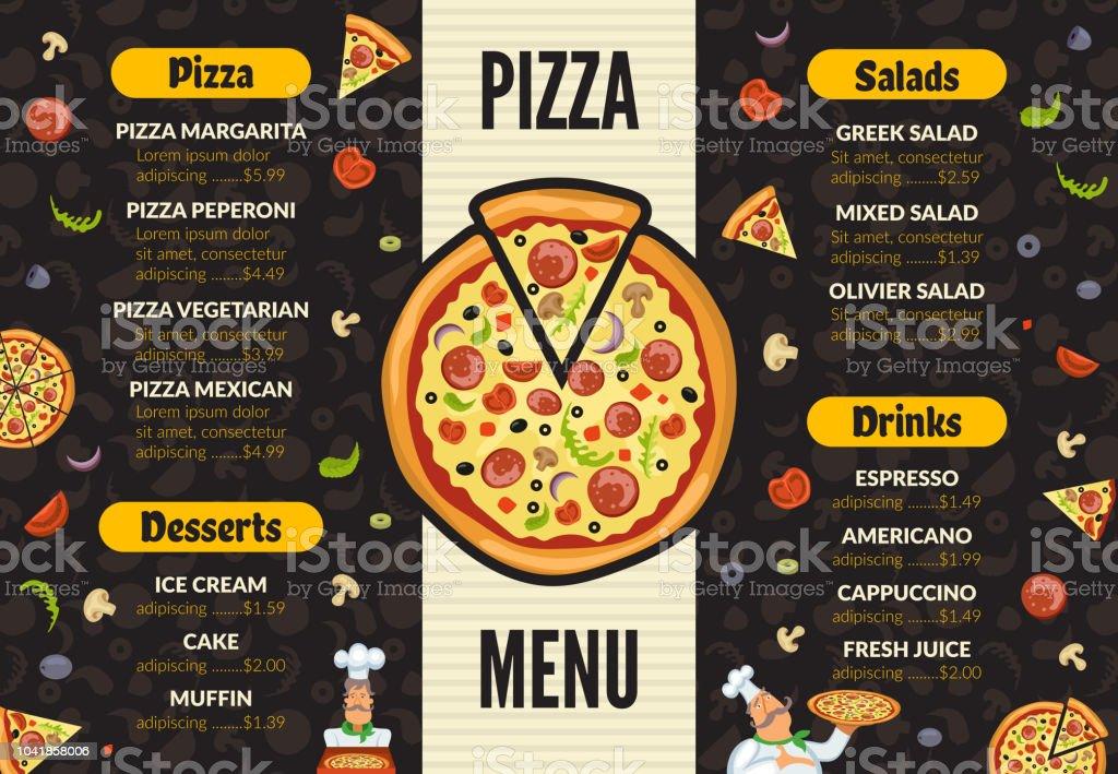 Pizzeria menu template. Italian kitchen cuisine food pizza...