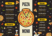 Pizzeria menu template. Italian kitchen cuisine food pizza ingredients cooking lunch and desserts vector background. Pizza menu, pizzeria with dessert and salad illustration