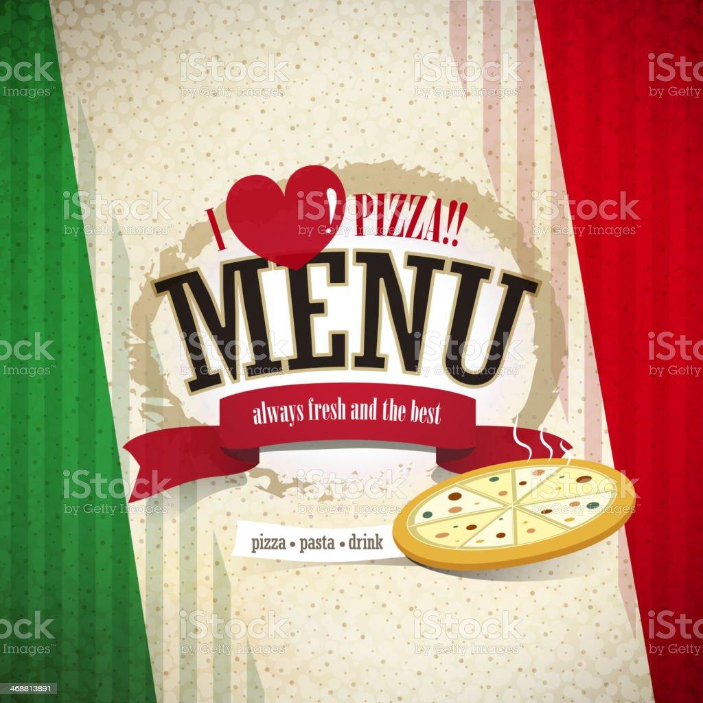 pizzeria menu vector art illustration