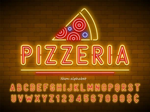 pizzeria neonlicht alphabet, besonders leuchtende schrift - pizzeria stock-grafiken, -clipart, -cartoons und -symbole