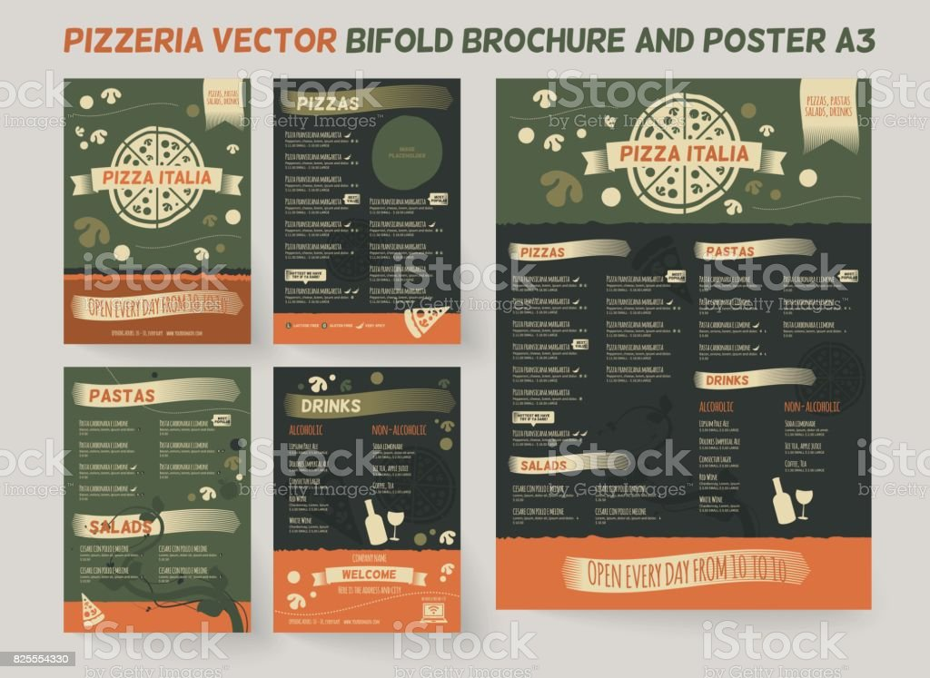Pizzeria Restaurant Menu Template vector art illustration