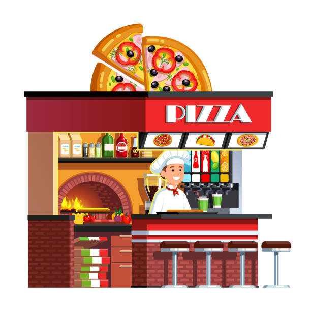 pizzeria restaurant stall kiosk with brick oven decorated with half of tortilla on roof. italian chef in hat serving fresh pizza and soft drink cup at counter. flat style vector clipart - small business owner stock illustrations