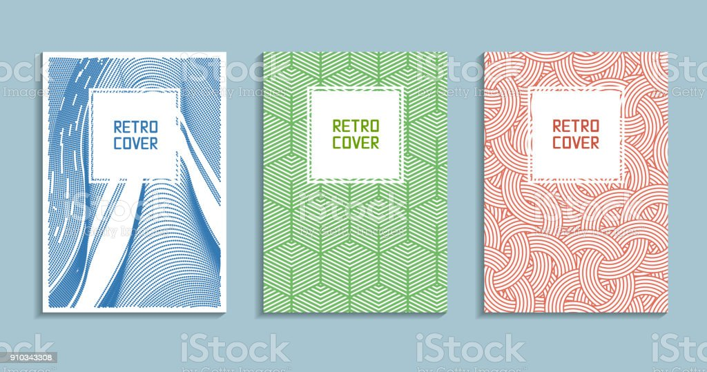 Placards With Abstract Liquid 80s Design Elements Retro Art