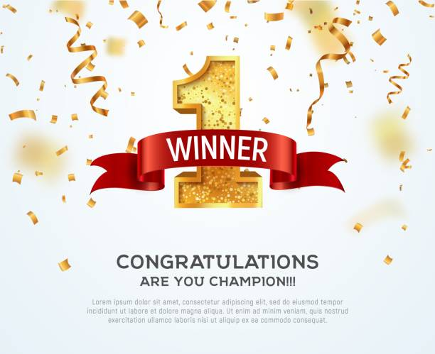1 place competition vector illustration. Winner golden number one with red ribbon on falling down confetti background. 1 place competition vector illustration Winner golden number one with red ribbon on falling down confetti background invitational stock illustrations