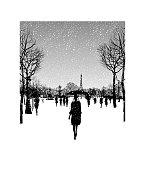 Place de la concorde and eiffel tower under snow, Paris, France - vector illustration