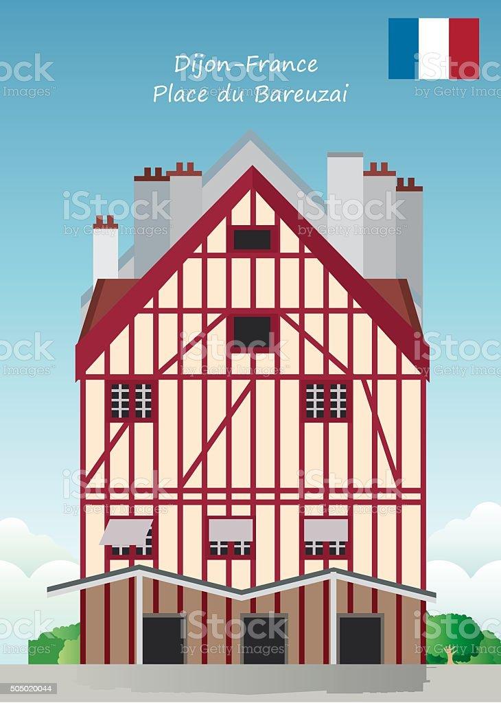 Place du Bareuzai-France vector art illustration
