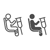istock Place for disabled people line and solid icon, Public transport concept, Priority seating sign on white background, person in chair with crutches icon in outline style. Vector graphics. 1257323938