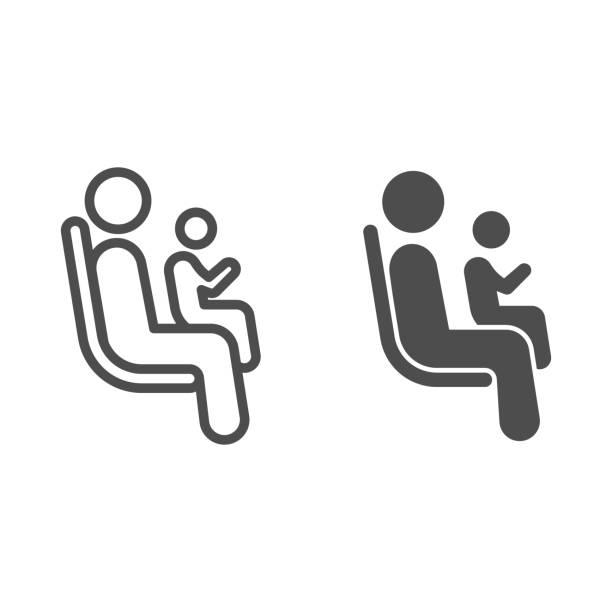 子供のラインと固体アイコンを持つ乗客のための場所、公共交通機関のコンセプト、白い背景に輸送サインの優先席エリア、アウトラインの座席アイコンに子供を持つ人。ベクトル。 - シングルマザー点のイラスト素材/クリップアート素材/マンガ素材/アイコン素材