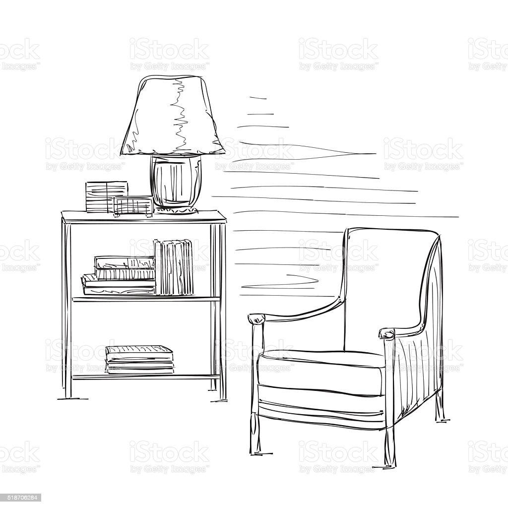 Ort Fur Lekture Mit Stuhl Skizze Stock Vektor Art Und Mehr