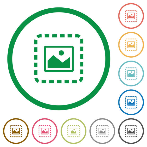 Place image flat icons with outlines Place image flat color icons in round outlines on white background inserting stock illustrations