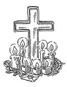 Place Of Mourning Cross And Candles Drawing