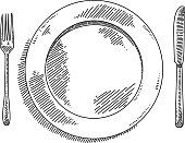 Line drawing of Place setting. Elements are grouped.contains eps10 and high resolution jpeg.