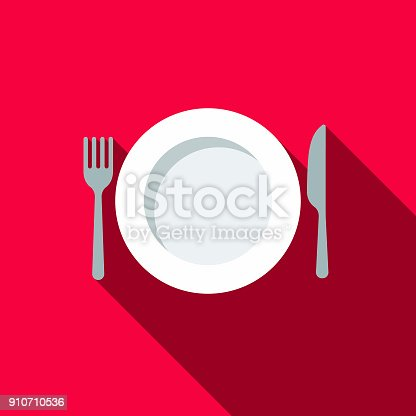 istock Place Setting Flat Design BBQ Icon with Side Shadow 910710536