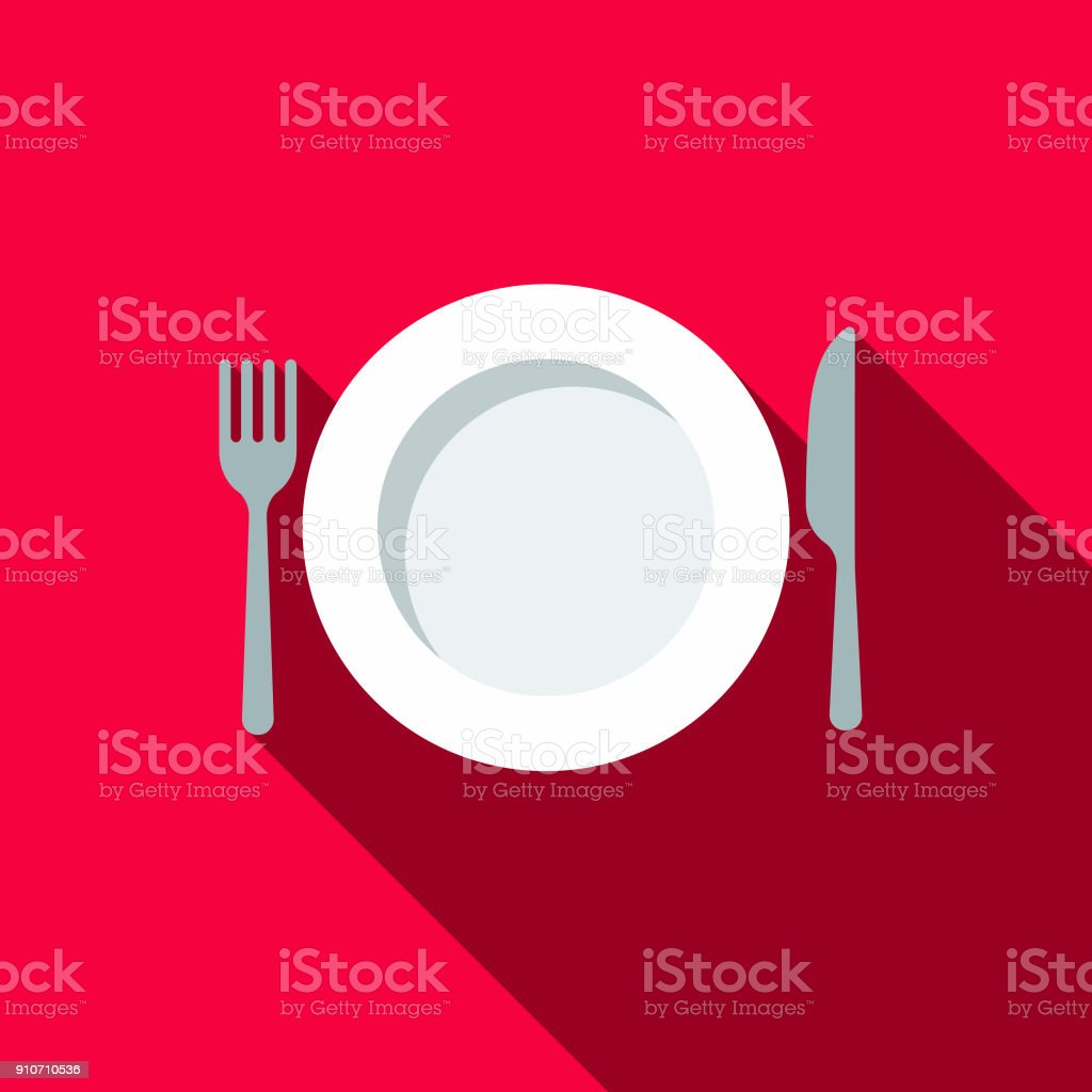 Place Setting Flat Design BBQ Icon with Side Shadow vector art illustration