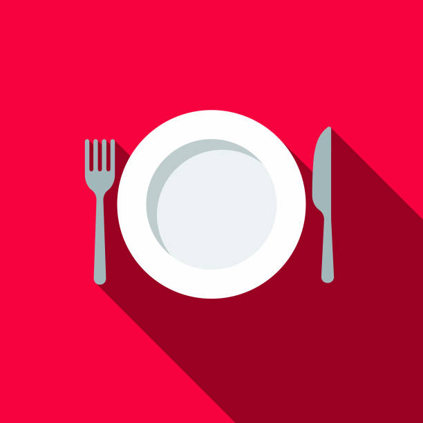 illustrazioni stock, clip art, cartoni animati e icone di tendenza di place setting flat design bbq icon with side shadow - piatto stoviglie