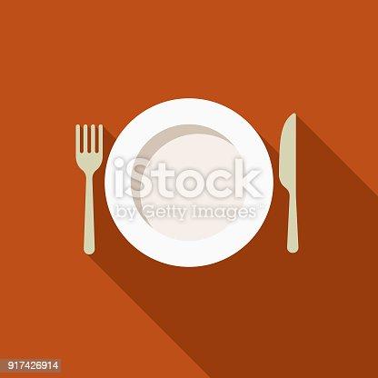 istock Place Setting Flat Design Thanksgiving Icon 917426914