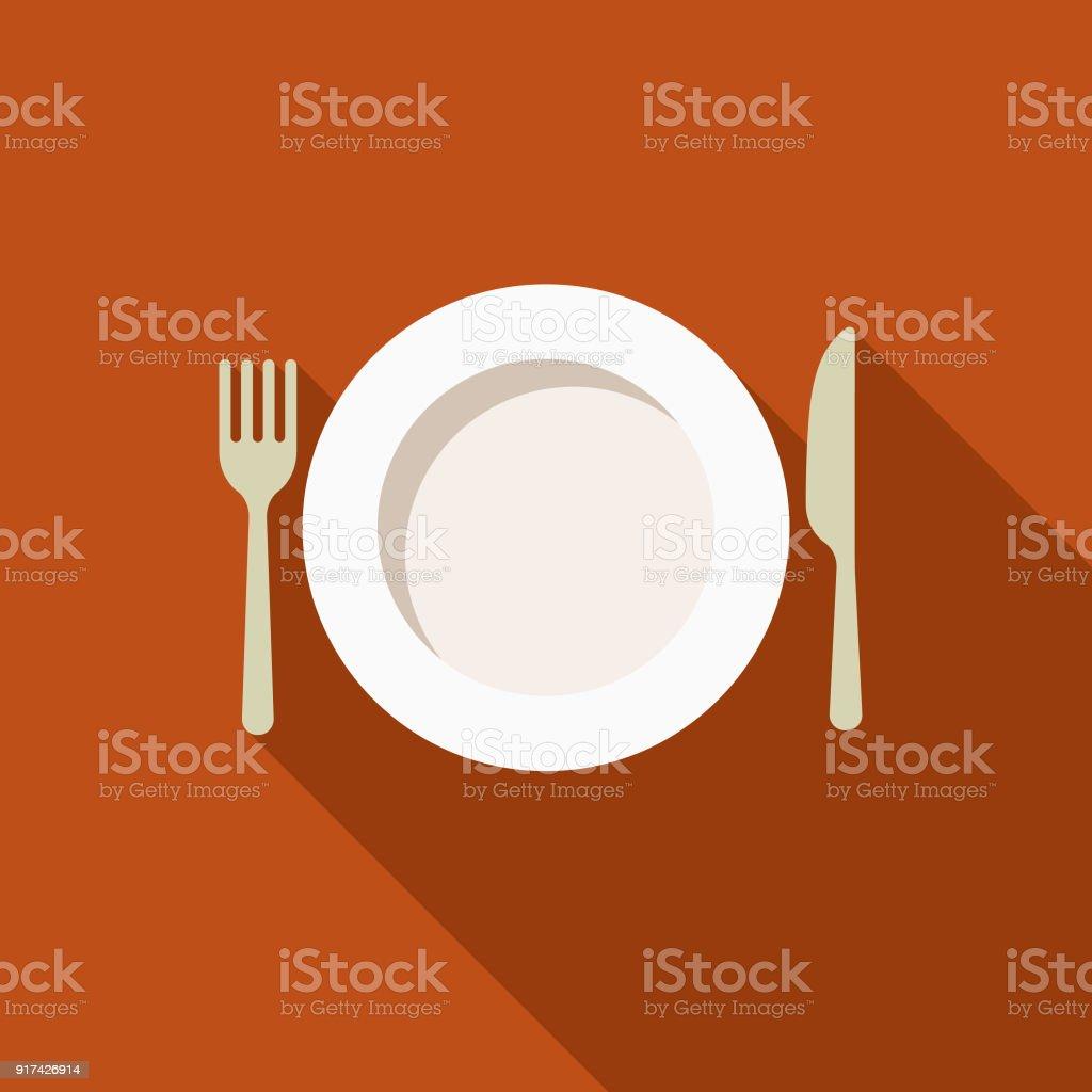 Place Setting Flat Design Thanksgiving Icon vector art illustration