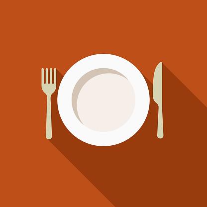 Place Setting Flat Design Thanksgiving Icon - Immagini vettoriali stock e altre immagini di Autunno