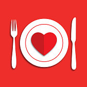 istock Place Setting Heart Icon 1195159889