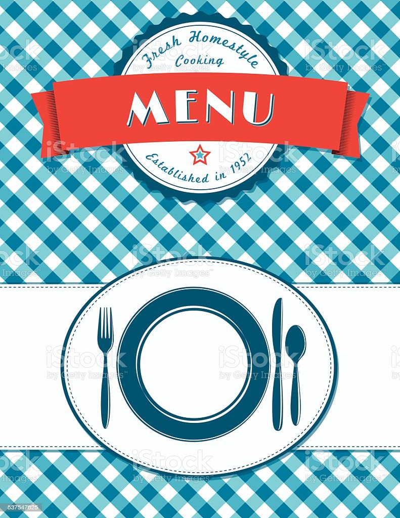 Place Setting Menu Cover Design On Plaid Background vector art illustration