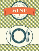 Place Setting Menu Cover Design On Plaid Background