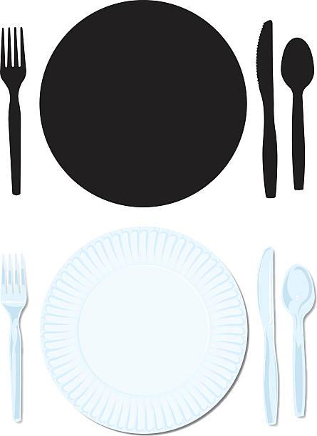 gedeck papier, kunststoff-platte mit gabel, löffel, messer - plastikteller stock-grafiken, -clipart, -cartoons und -symbole