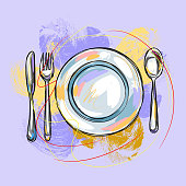 Place Setting, all elements are in separate layers and grouped, please visit my portfolio for more options.