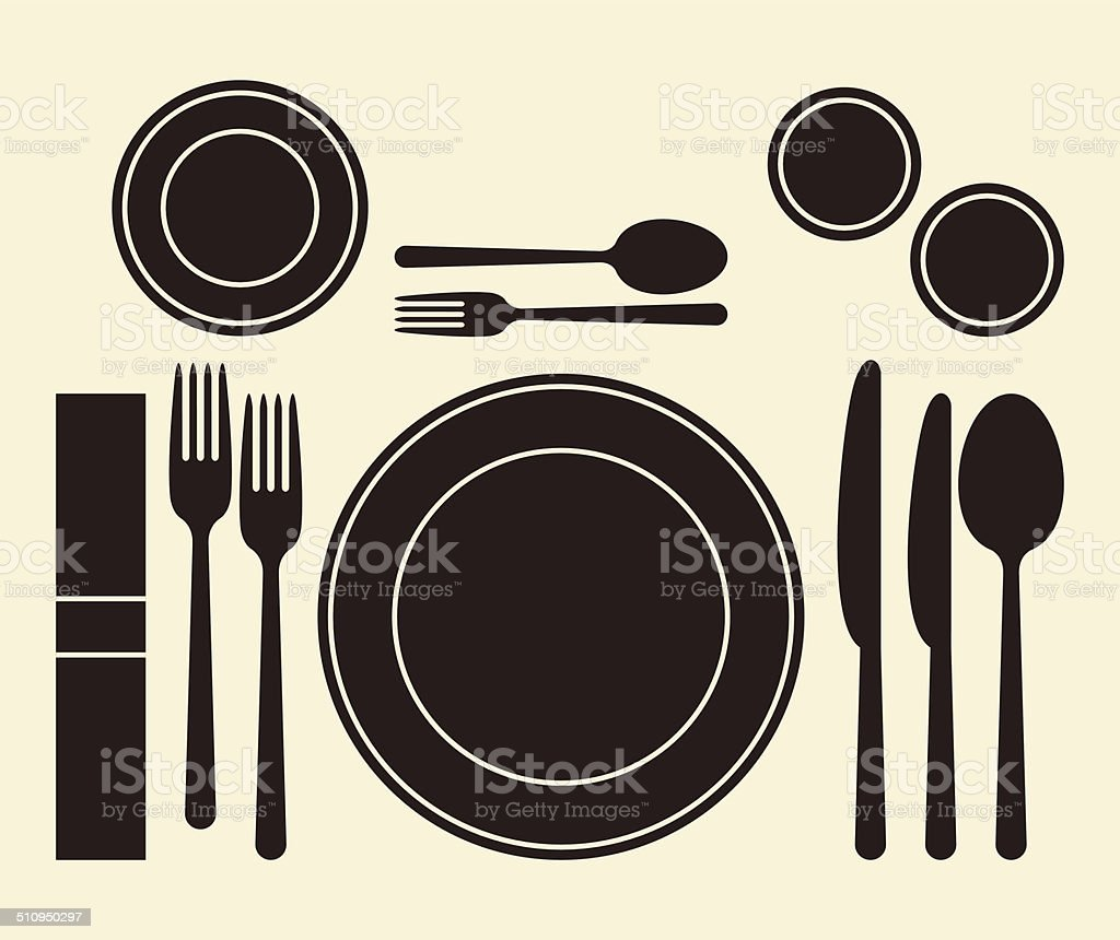 Place setting vector art illustration