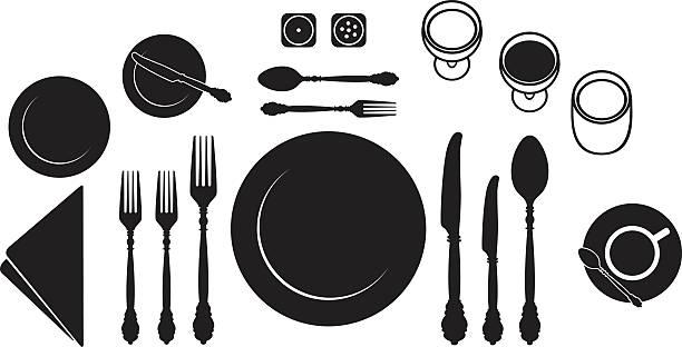 stockillustraties, clipart, cartoons en iconen met place setting - gedekte tafel