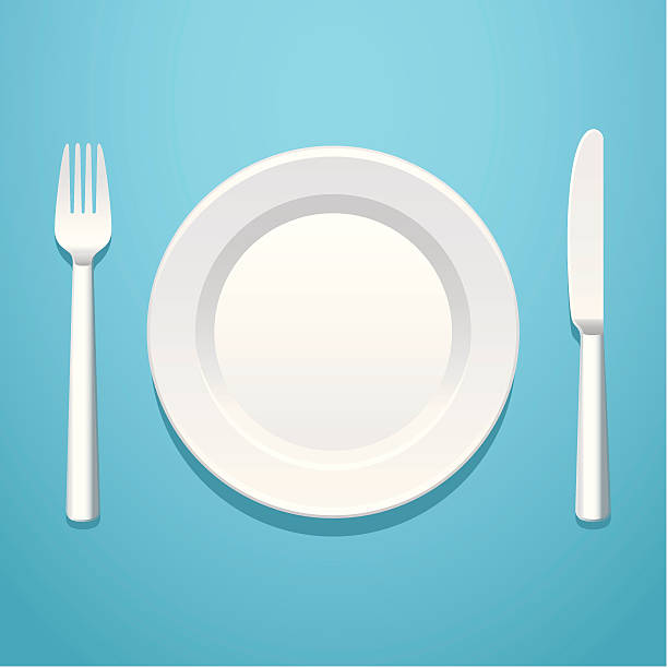 stockillustraties, clipart, cartoons en iconen met a place setting with a knife, fork, and plate - bord serviesgoed