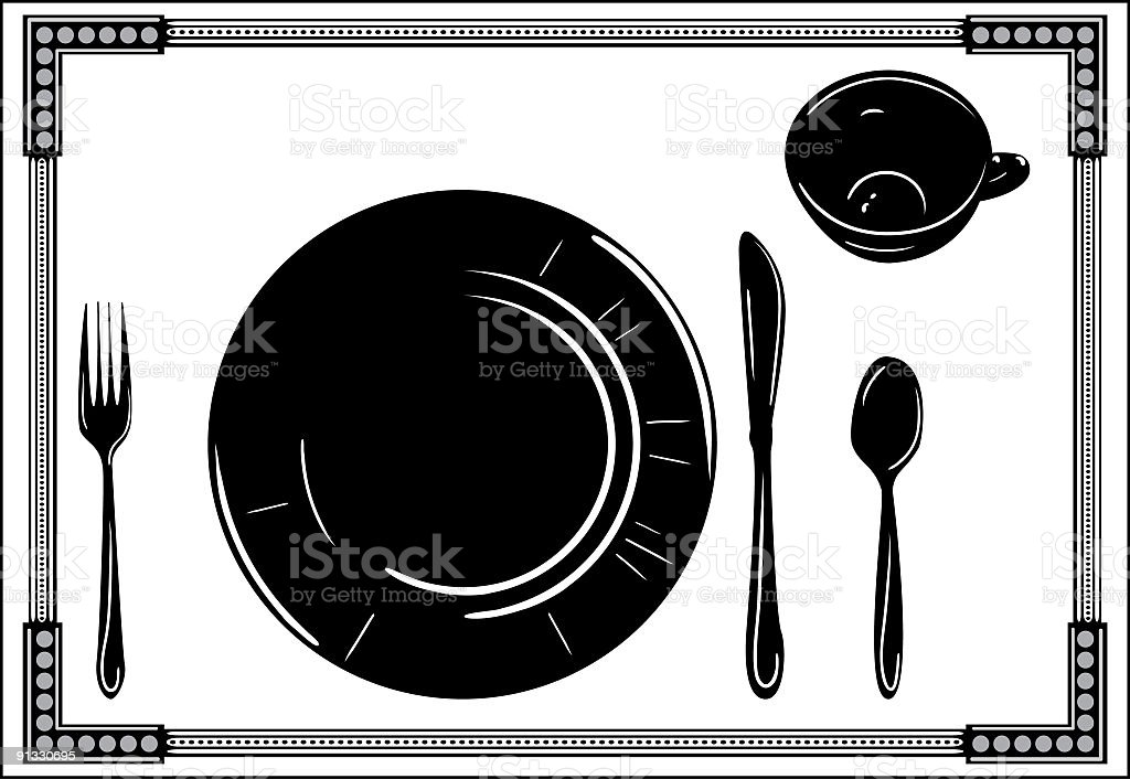 Place Setting with Dinnerware Silhouette in Black and White vector art illustration