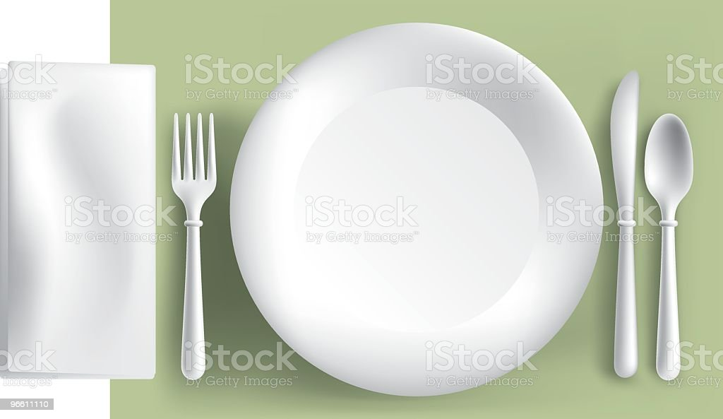 place setting w/napkin royalty-free stock vector art