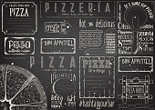 Pizzeria Placemat - Paper Napkin for Pizza House with Place for Text in Retro Style. Big Pizza Chalk Drawn on Blackboard. Vector Illustration.