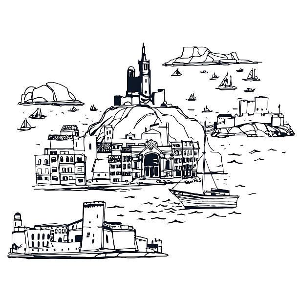 stockillustraties, clipart, cartoons en iconen met places and architecture around the world  marseilles skyline - marseille