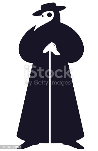 Vector illustration of a plague doctor, a black and white silhouette.