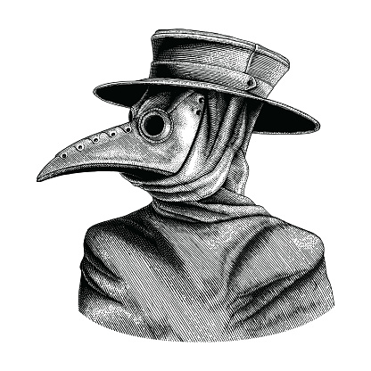 Plague Doctor Hand Drawing Vintage Engraving Isolate On White Background Stock Illustration - Download Image Now