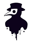 Vector illustration of a plague doctor head profile with a bird mask and a hat, black and white colours.