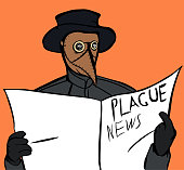 istock Plague doctor reading a newspaper 1262477865