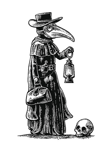 Plague, doctor with bird mask,suitcase, lantern, garlic. Engraving Plague, doctor with bird mask,suitcase, lantern, garlic and hat. Vector black vintage engraving illustration isolated on a white background. For poster and book epidemic stock illustrations