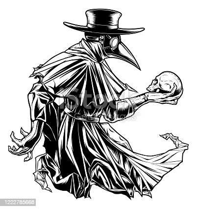 Plague doctor with skull black and white