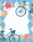 Argyle Plaid Pattern With Blank Frame For Text And Two Retro Bikes