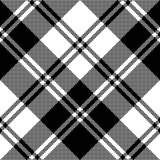 plaid black white tartan classic seamless pattern - stripped pattern stock illustrations, clip art, cartoons, & icons
